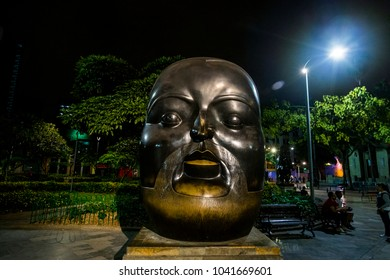 MEDELLIN, COLOMBIA - February 2018: Beautiful square of Botero in the area of the old quarter in Medellin, here are the works of fathers Fernando Botero