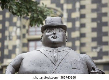 MEDELLIN, COLOMBIA - February 21, 2016. Fernando Botero sculpture shown in the Plaza Botero; a great attraction for tourists