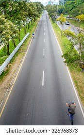 MEDELLIN, COLOMBIA - FEBRUARY 24, 2015: Cycleway or open streets bike path in Medellin