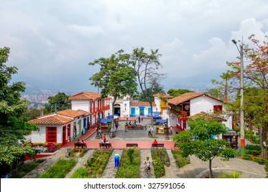 MEDELLIN, COLOMBIA - FEBRUARY 24, 2015: Pueblito Paisa in Nutibara Hill, reproduction of the traditional Colombian township in Medellin city.