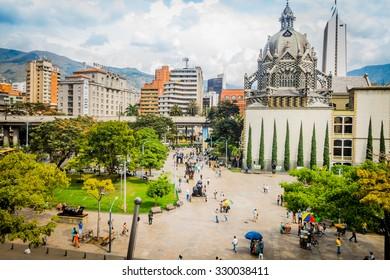 MEDELLIN, COLOMBIA - FEBRUARY 24, 2015: Beautiful Botero Plaza in Old Quarter area in Medellin