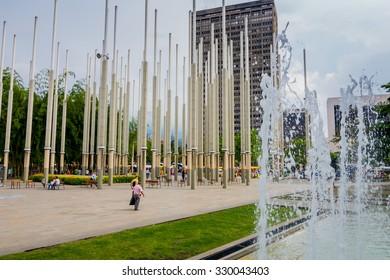 MEDELLIN, COLOMBIA - FEBRUARY 24, 2015: Parque de las luces or Park of Lights in Cisneros Square, Medellin.