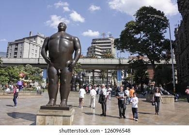 MEDELLIN, COLOMBIA - JAN 2: Botero square on January 2, 2010 in Medellin, Colombia. Launched in 2002, are displayed in the street 23 sculptures by Fernando Botero. In the picture, the statue 'Adan'.