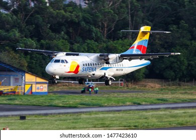 Medellin, Colombia – January 25, 2019: Satena ATR 42 airplane at Medellin Enrique Olaya Herrera airport (EOH) in Colombia.
