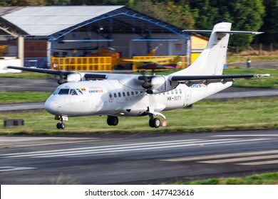 Medellin, Colombia – January 25, 2019: Easyfly ATR 42 airplane at Medellin Enrique Olaya Herrera airport (EOH) in Colombia.