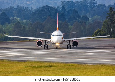 Medellin, Colombia – January 27, 2019: Avianca Airbus A320 airplane at Medellin Rionegro airport (MDE) in Colombia. Airbus is a European aircraft manufacturer based in Toulouse, France.