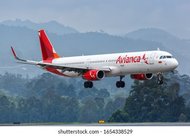 Medellin, Colombia – January 27, 2019: Avianca Airbus A321 airplane at Medellin Rionegro airport (MDE) in Colombia. Airbus is a European aircraft manufacturer based in Toulouse, France.