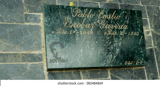 MEDELLIN, COLOMBIA - JANUARY 4: Tombstone of Pablo Escobar as of January 4, 2012. Pablo Emilio Escobar Gaviria was a notorious Colombian drug lord who was shot and buried in Medellin, Colombia