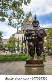 MEDELLIN, COLOMBIA - Jul 19, 2016: Roman Soldier Statue at Botero Square - Medellin, Antioquia, Colombia