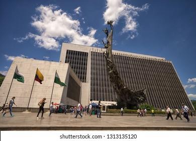 Medellin, Colombia - July 25, 2018: La Alpujarra administrative center, the home of Antioquia government