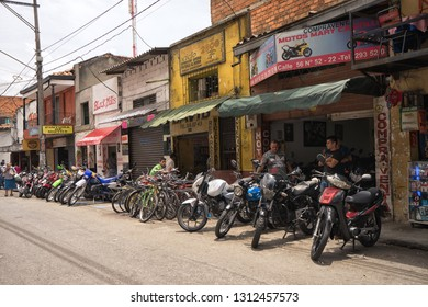 Medellin, Colombia - July 26, 2018: facade of bicycle, motorbike sales and repair shops