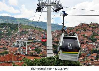 MEDELLIN, COLOMBIA - JUN 15 : View of the metrocable public transport system in Medellin, Colombia. Medellin is Colombia's 2nd biggest city with a population of 2.5 million.