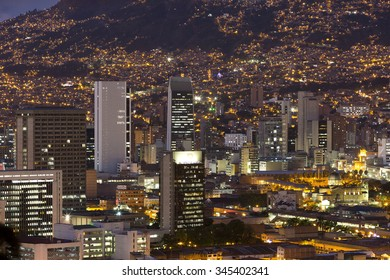 MEDELLIN, COLOMBIA, MARCH 11: Aerial view of Medellin at night with residential and office buildings. Colombia 2015