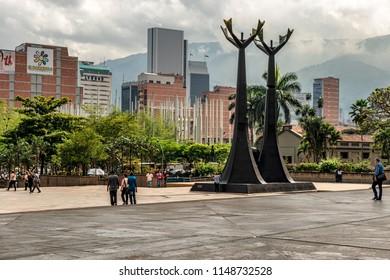 Medellin, Colombia – March 26, 2018: View at Monument a tribute to Doctors Guillermo Gaviria and Gilberto Echeverri, located in the Alpujarra square the administrative center of Antioquia, Medellin.