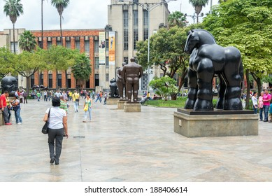 MEDELLIN, COLOMBIA - MARCH 4: Activity in the Botero Plaza on March 4, 2014.  Fernando Botero is a famous artist from Medellin.