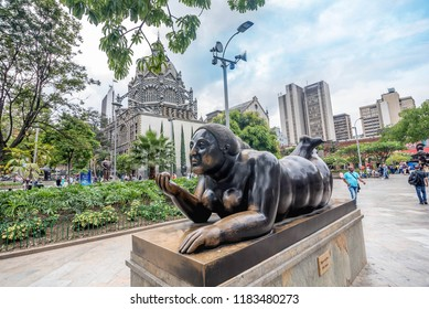 Medellin, Colombia- March 5, 2017: Statues at Antioquia Department, Medellin near Botero Museum