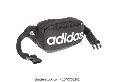 Medellin, Colombia - Marzo 15, 2019: ADIDAS - fanny pack on white background