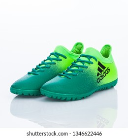 Medellin, Colombia- Marzo 21, 2019: ADIDAS football/soccer indoor, shoes on white background