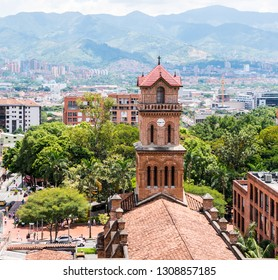 MEDELLIN, COLOMBIA - MAY 31, 2018: View of the Parroquia San José del Poblado Catholic Church with mountains in the background.