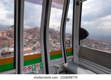 MEDELLIN, COLOMBIA - NOV 11:  Aerial view of some of Medellin, Colombia's barrios from within a gondola on November 11, 2017. Gondolas connect remote barrios from valley to valley in certain parts of