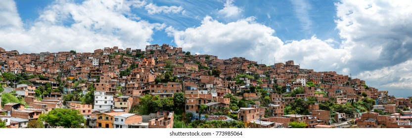 MEDELLIN, COLOMBIA - NOV 9: Aerial view of a comuna in Medellin, Colombia on November 9, 2017.  Some of the harder to reach barios are serviced by gondolas.