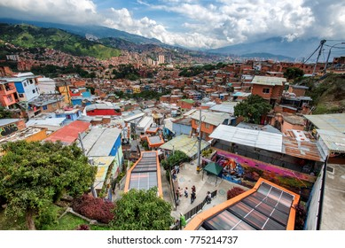 MEDELLIN, COLOMBIA - NOV 9: Comuna 13 in Medellin, Colombia on November 9, 2017. The barrio is infamous for its violent past, but has since transformed into a tourist friendly neighborhood.