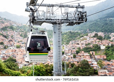 MEDELLIN, COLOMBIA - NOV 9:  A Gondola in Medellin, Colombia on November 9, 2017.  Medellin is the only city in Colombia with a mass transit system, which includes a train, tram and gondolas.