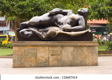 MEDELLIN, COLOMBIA - OCT 10th 2012: Statue's in the Botero Square, on 10th Oct 2012 in Medellin, Colombia. Botero donated 23 sculptures to his home town of Medillin.