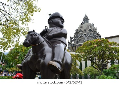 MEDELLIN, COLOMBIA - OCTOBER 18TH, 2016: Sculpture of the artist Fernando Botero in the city of Medellin, Colombia, on October 18th, 2016