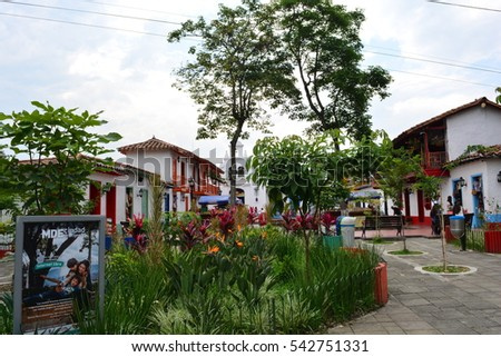 MEDELLIN, COLOMBIA - OCTOBER 19TH, 2016: Unidentified tourists at the Pueblito Paisa, a colonial neighbhood of Medellin, Colombia, on October 19th, 2016