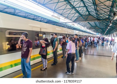 MEDELLIN, COLOMBIA - SEPTEMBER 1, 2015: Train is arriving to Caribe station of Medellin metro.