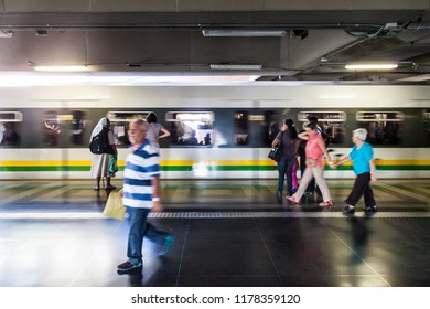 MEDELLIN, COLOMBIA - SEPTEMBER 1, 2015: Train is arriving to the San Antonio station of Medellin metro.