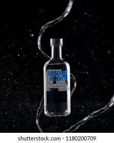 Medellin, Colombia - September 5, 2018: Bottle of vodka from Absolut, a brand of vodka produced in Sweden. Owned by the French Pernod Ricard group.