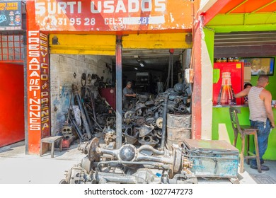 Medellin February 2018 This sprocket and metal milling workshop is one of many in the Medellin Sad neighborhood known for this type of activity.