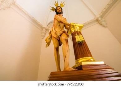 Medellin January 2018  In sunday mornings the church of San Jose in Poblado Medellin is open so people cand admire this statue of Christ