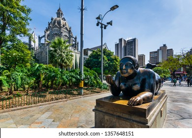 Medellin/Colombia 14.02.2019 Botero Square in Medellin Colombia with a statue of a fat woman