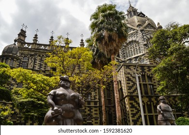 Medellin/Colombia - Oct. 27th, 2017: statues located in 'Plaza Botero', tourist spot in the city