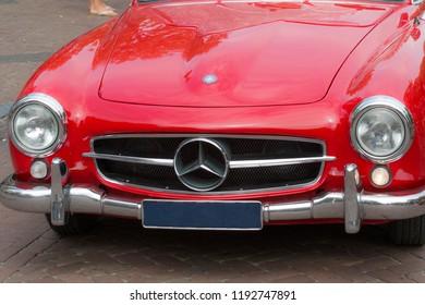 MEDEMBLIK, NETHERLAND, -JULY 22 ,2018: Front of a vintage red Mercedes benz 190 SL 1959.