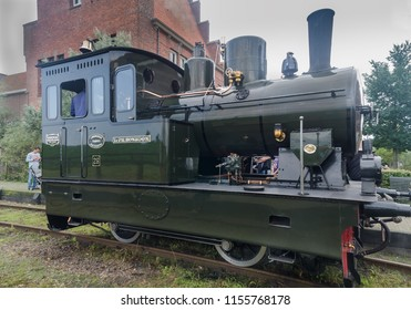 MEDEMBLIK, NETHERLANDS - SEPTEMBER 7, 2014: Vintage steam locomotive (1922) at train station of Medemblik