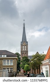MEDEMBLIK, NETHERLANDS - SEPTEMBER 7, 2014: View on Bonifacius church in city of Medemblik, North Holland