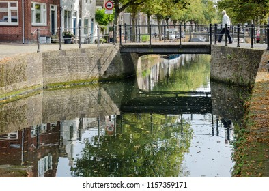 MEDEMBLIK, NETHERLANDS - SEPTEMBER 7, 2014: View on canal in city of Medemblik, North Holland