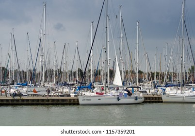 MEDEMBLIK, NETHERLANDS - SEPTEMBER 7, 2014: Sailing boats at harbor of Medemblik, North Holland