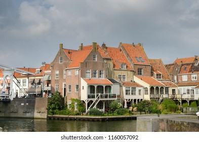 MEDEMBLIK, NETHERLANDS - SEPTEMBER 7, 2014: View on canal and buildings at city of Medemblik, North Holland