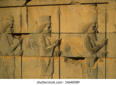 Medes and Persians - ancient soldiers, detail, Apadana staircase, 	 [capital city of Persian empire, Darius ]	Persepolis	Iran