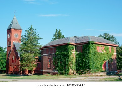 Medfield, Massachusetts/United States-7/22/2020: Lee chapel and research building in Abandoned Medfield State Hospital, a former insane asylum
