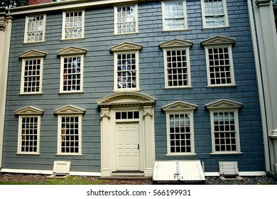 Medford, Massachusetts- September 5, 2009:  National historic landmark 18th century Georgian Isaac Royall House built between 1733-1737