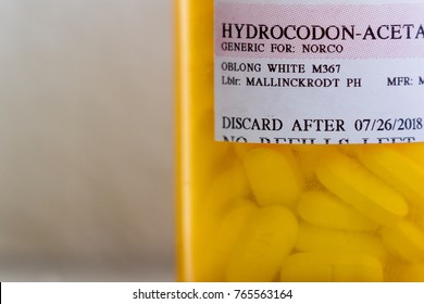 Medford, Oregon - November 11: close up of a recognizable opioid pain killer prescription bottle. November 11 2017, Medford Oregon