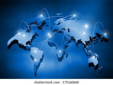 Media blue background image with world map
