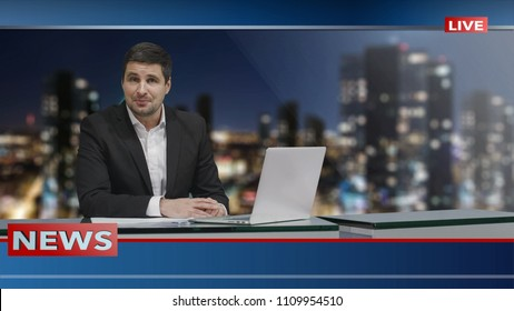 Media broadcaster is sitting at a table and talking. News show Mock-up.