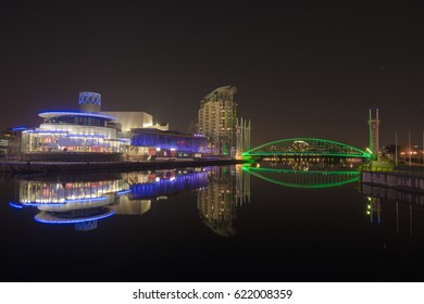 Media City property development on the banks of the Manchester Ship Canal in Salford Quays and Trafford - Long Exposure night shot